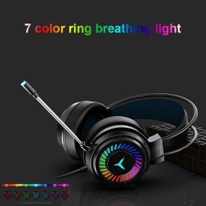 Colourful Light Gaming Headsets Gamer Headphones 4D Surround Sound Stereo Wired Earphones USB Microphone PC Laptop Game Headset