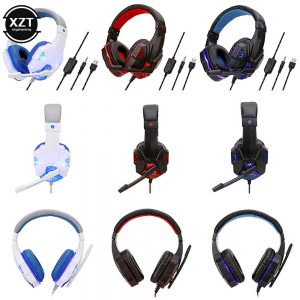 Professional Led Light Gaming Headphones for Computer PS4 Switch Adjustable Bass Stereo PC Gamer Over Ear Wired Headset With Mic