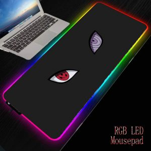 Naruto Anime RGB LED Colorful Lighting Mouse Pads Large Gaming Accessories Mousepad Gamer To Keyboard Mouse Mats 40X90/30X80CM