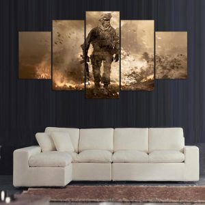 Modern Decorative Painting 5 Panels Wall Art Canvas Painting Call of Duty Multi-picture Combination for decor Living Room frame