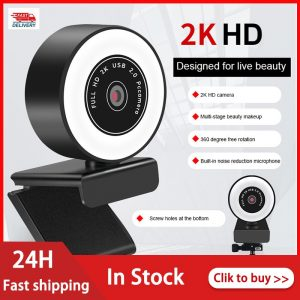 Computer Camera HD 1080P 2K Auto Focus WebCam With Microphone LED Light Camera Fill Light Web Cam For Laptop Video Calling
