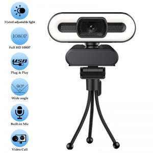 1080P 2K 4K HD Webcam with Fill Light Rotatable Laptop Web Camera PC Computer Camera With Microphone For Youtube Video Recording