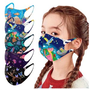 5pc Children Cloth Masks Windproof Printed Face Mask For Kids Mascarillas Reusable Respirator Masque Enfant Halloween Cosplay
