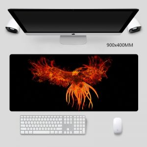 Big Mouse Pad Fire Phoenix on Black Background HD Desk Mat Gaming Mouse Pad Non-slip Natural Rubber Game Accessories Mouse Pad