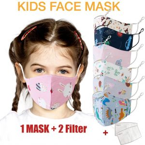 1PCS Children's Cartoon Printed Party Mask Breathable Kids Cartoon Adjustable Washable Safet Protect Haze Face Mask +2 PC Filter